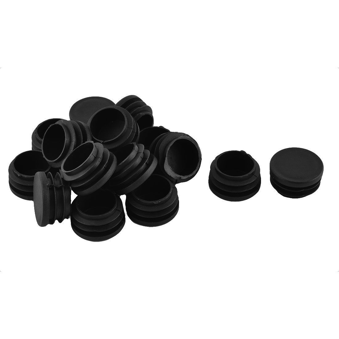 Table Desk Foot Plastic Round Tube Insert End Cap Cover Black 32mm Dia 16pcs