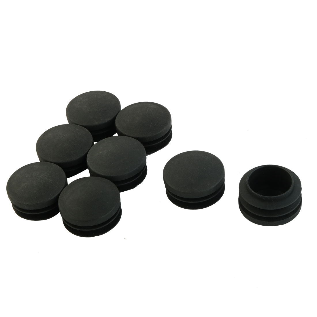 Furniture Table Chair Foot Plastic Round Tube Insert Cap Cover Black 35mm Dia 8pcs
