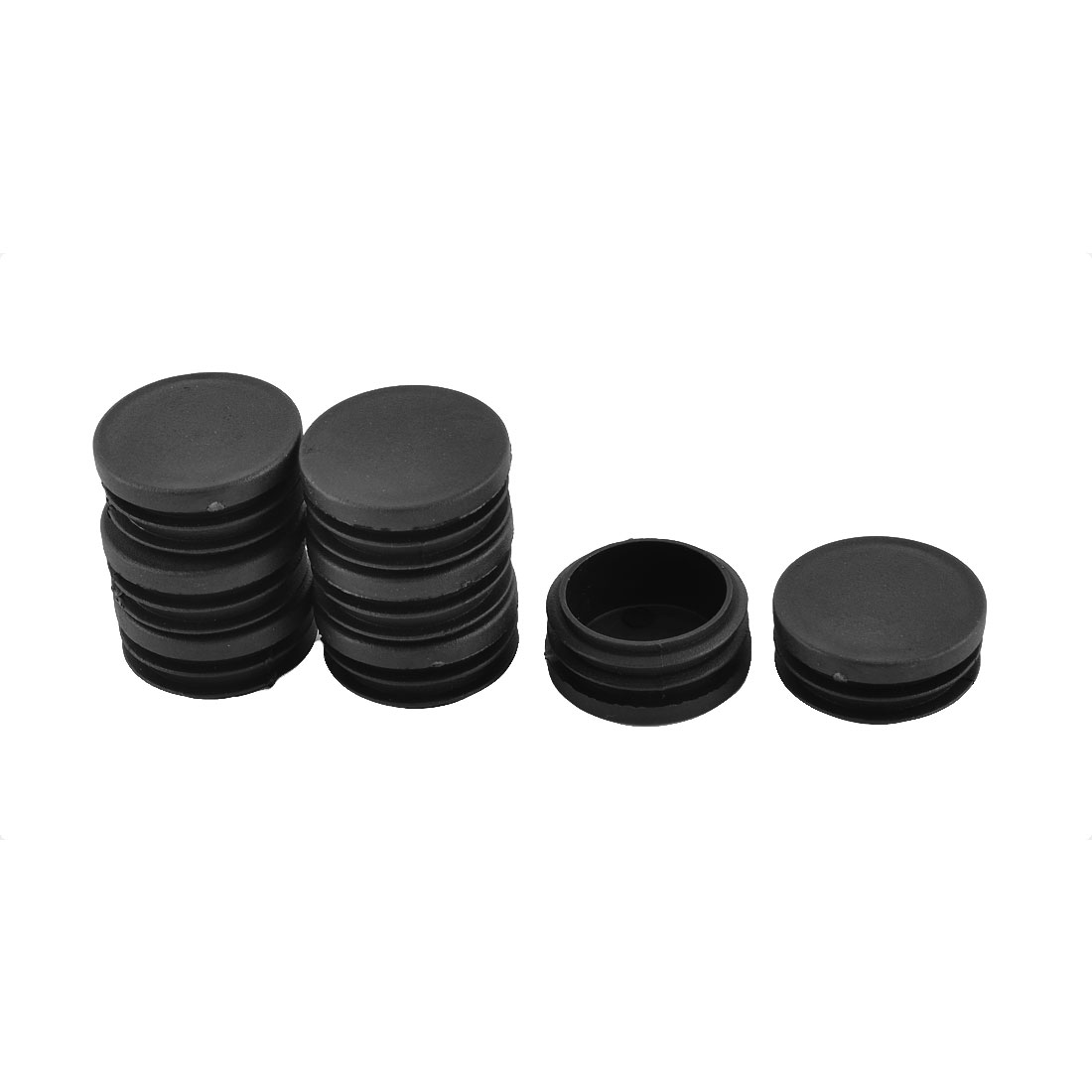 Furniture Leg Plastic Round Tube Insert Cap Cover Protectors Black 40mm Dia 8pcs