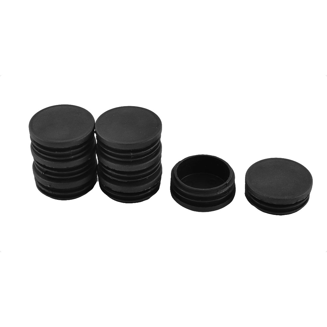 Table Chair Foot Plastic Round Tube Insert Cap Cover Black 50mm Dia 8pcs