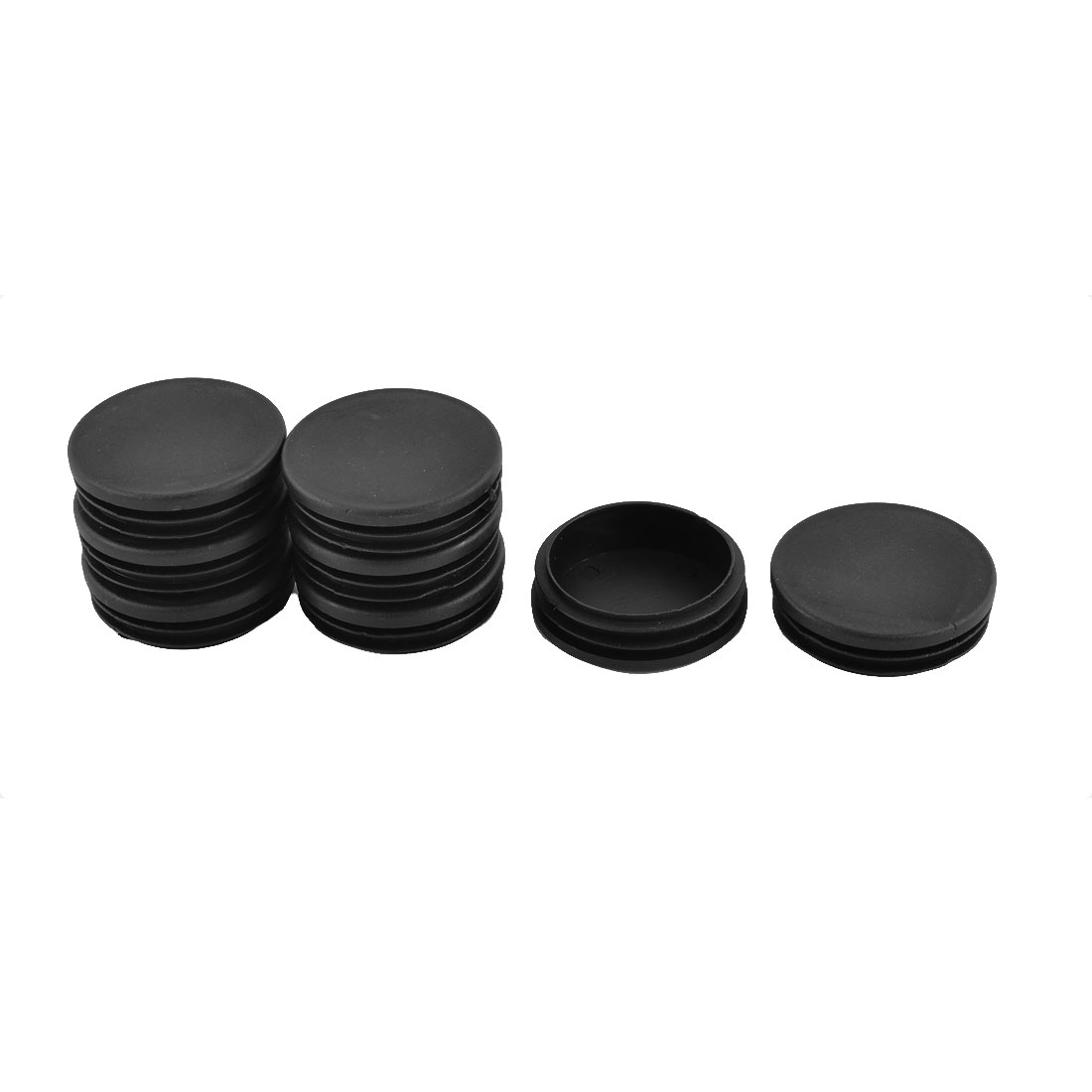 Furniture Table Chair Leg Foot Plastic Round Tube Insert Cap Cover Black 58mm Dia 8pcs
