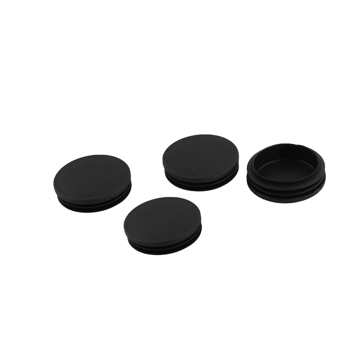 Furniture Foot Plastic Flat Base Round Tube Insert Cover Black 64mm Dia 4pcs