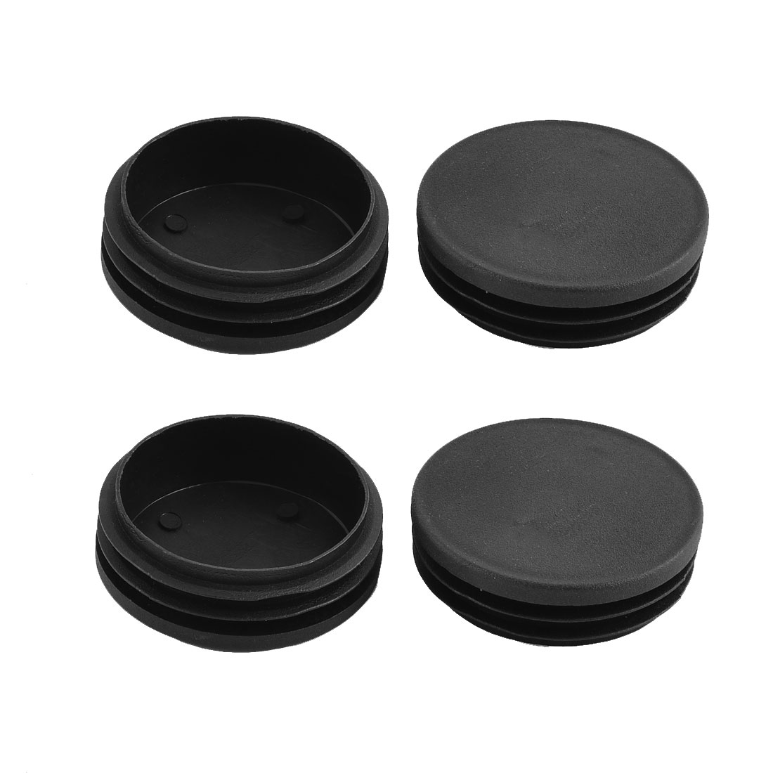 Home Office Table Chair Foot Plastic Round Tube Insert Cover Black 74mm Dia 4pcs