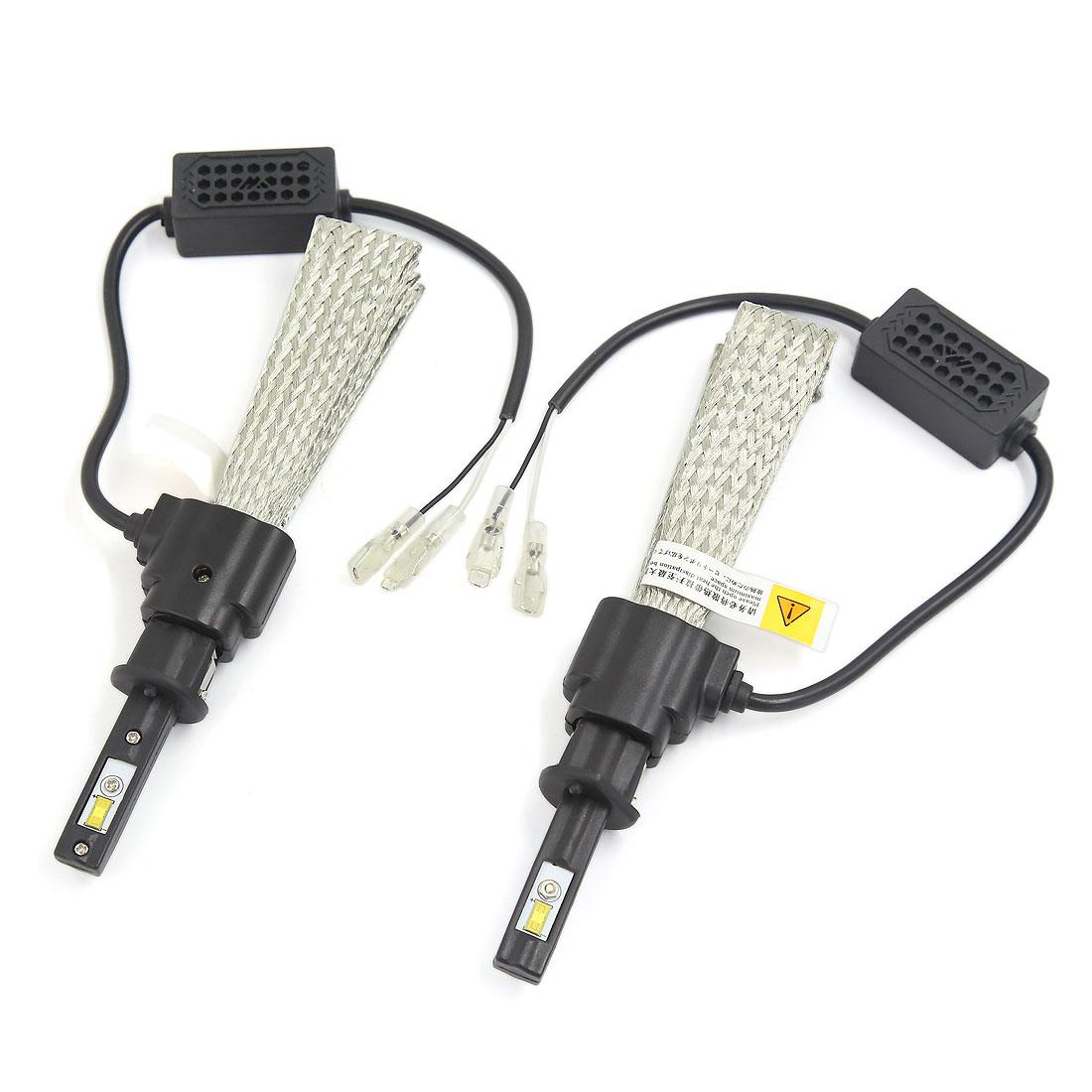 2PCS H1 6000K White 30W 3200LM LED Headlight Conversion Kit w Copper Braid