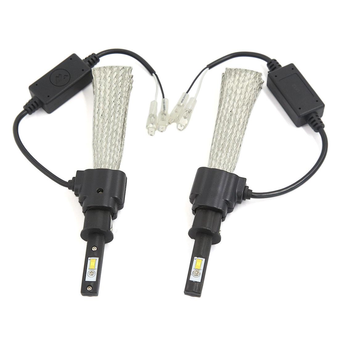 2PCS H3 6000K White 30W 3200LM LED Headlight Conversion Kit w Copper Braid