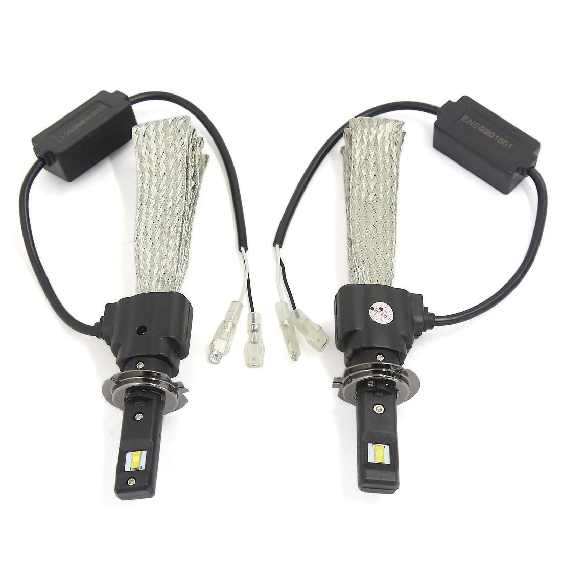 2PCS H7 6000K White 30W 3200LM LED Headlight Conversion Kit w Copper Braid