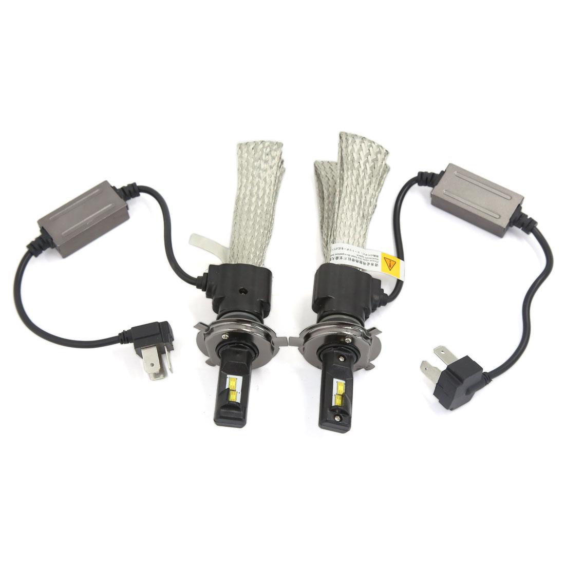 2PCS H4 9003 6000K White 30W 3200LM LED Headlight Conversion Kit w Copper Braid