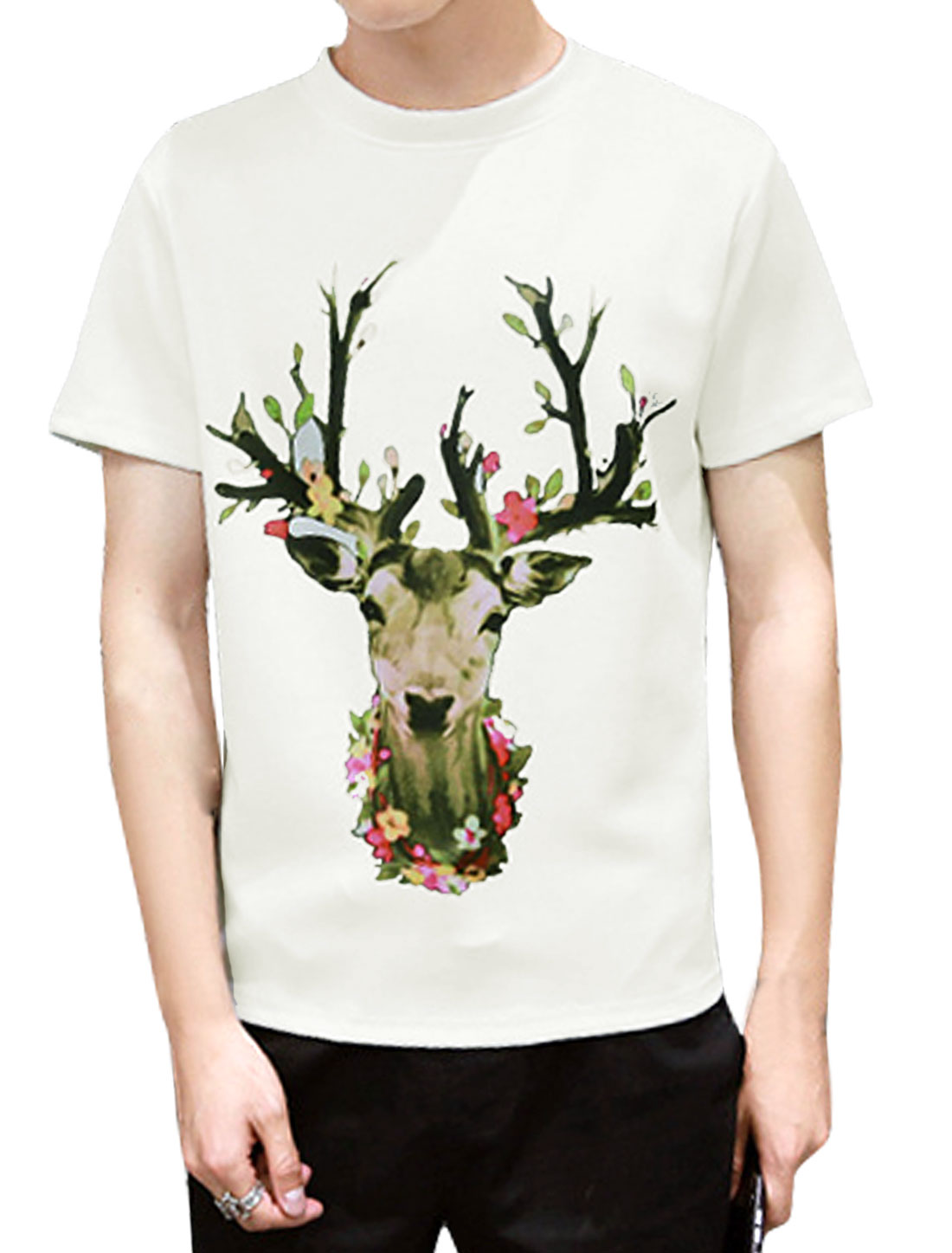 Men Deer Pattern Crew Neck Short Sleeves Tee Shirt White M