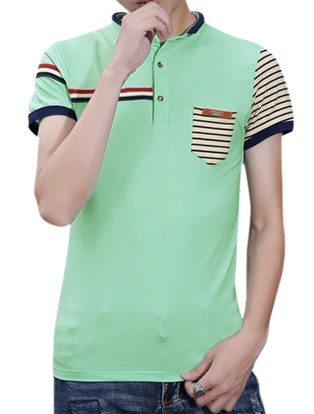 Men Stand Collar Short Sleeves Stripes Polo Shirt Green M
