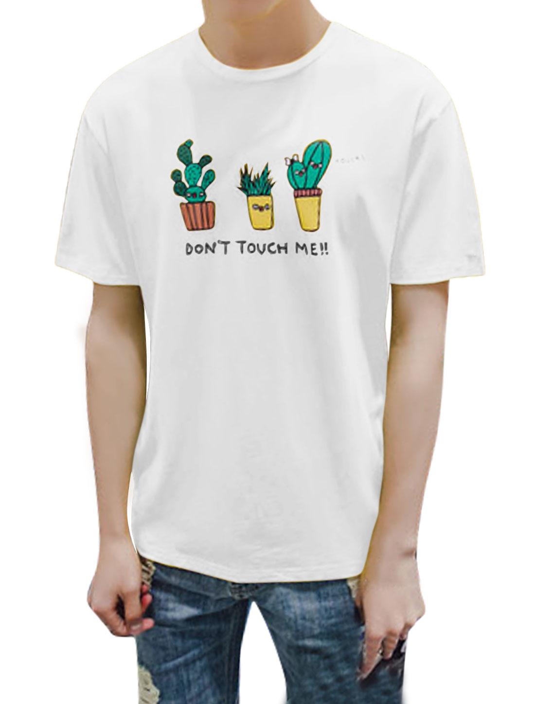 Men Short Sleeves Crew Neck Letters Cactus Print Tee White M