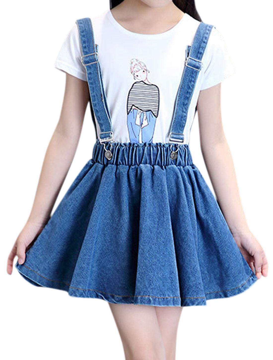 Girls Detachable Buckled Straps A Line Denim Suspender Skirt Blue 12
