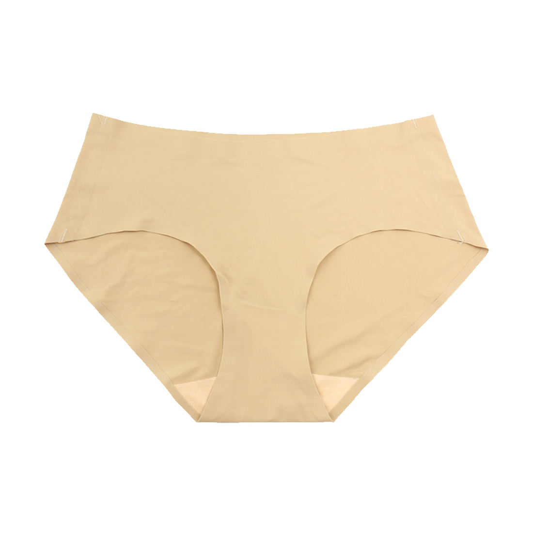 Women Mid Rise Elastic Waist Seamless Stretchy Panty Beige S