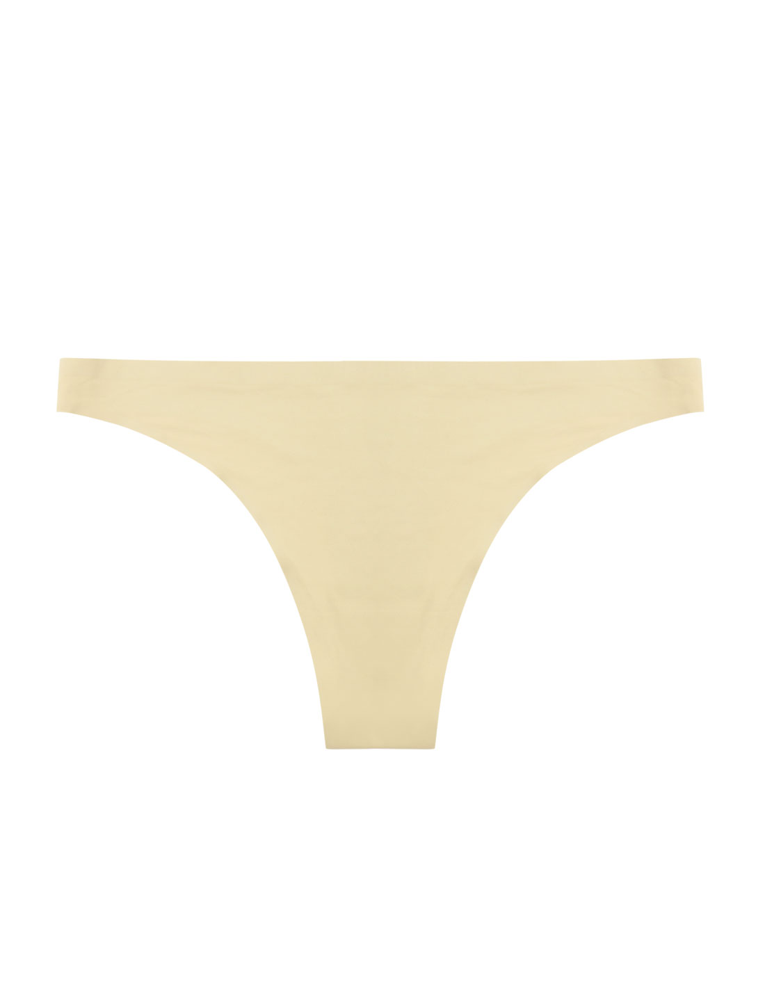 Women Low Rise Elastic Waist Seamless Invisible Thong Panty Beige M