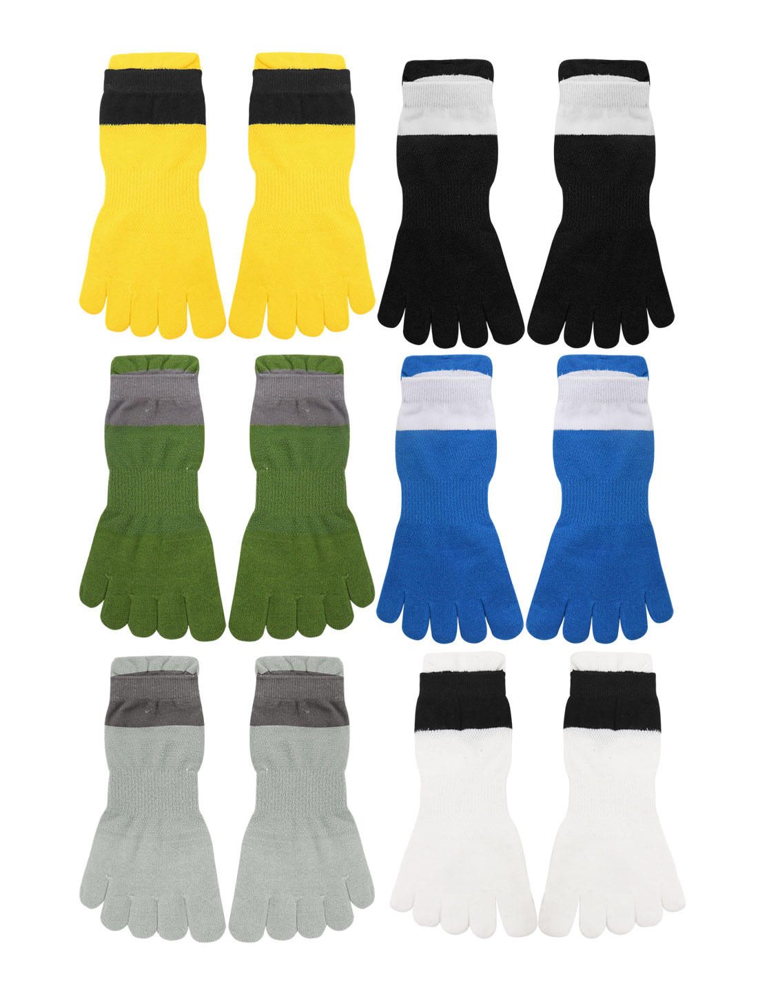 Men Elastic Cuffs Stretchy Ankle Length Toe Socks 6 Pairs Assorted Color