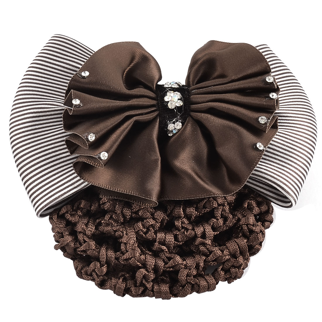 Lady Polyester Stripe Bowknot Rhinestones Decor Snood Net Hair Clip Coffee Color