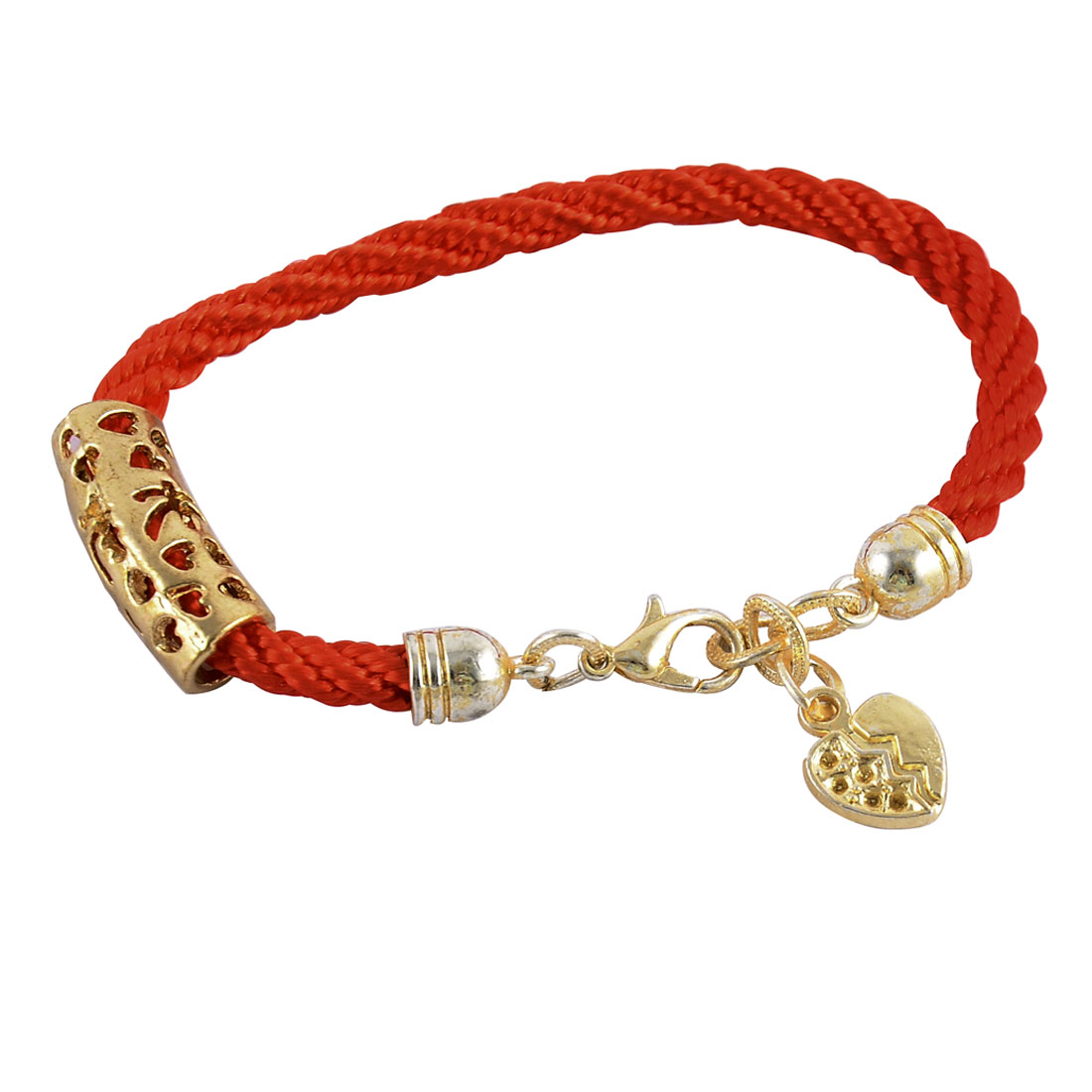 Nylon Adjustable Braid Rope Heart Decor Bracelet Bangle Red Gold Tone