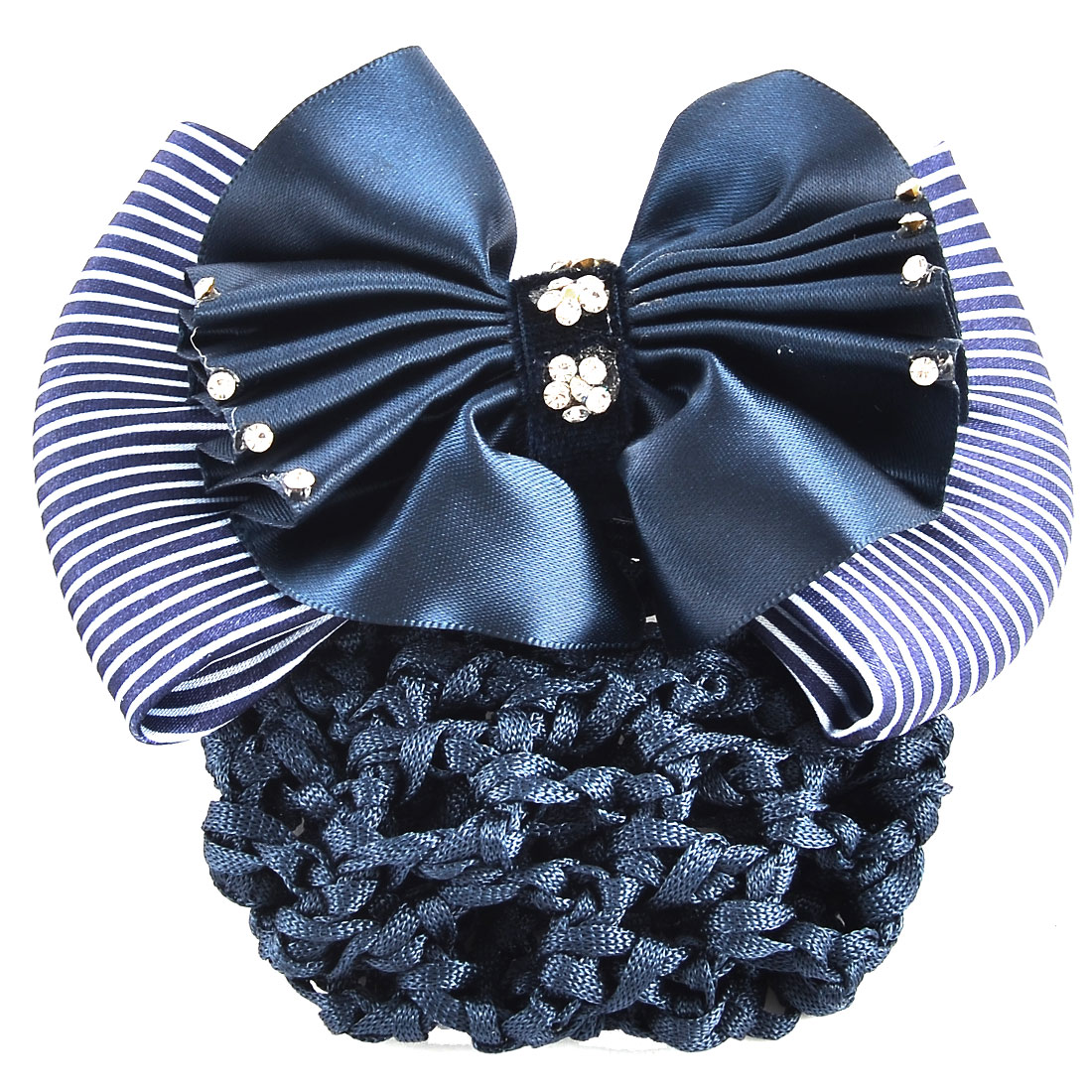 Polyester Flower Stripe Bowknot Rhinestones Decor Snood Net Hair Clip Blue