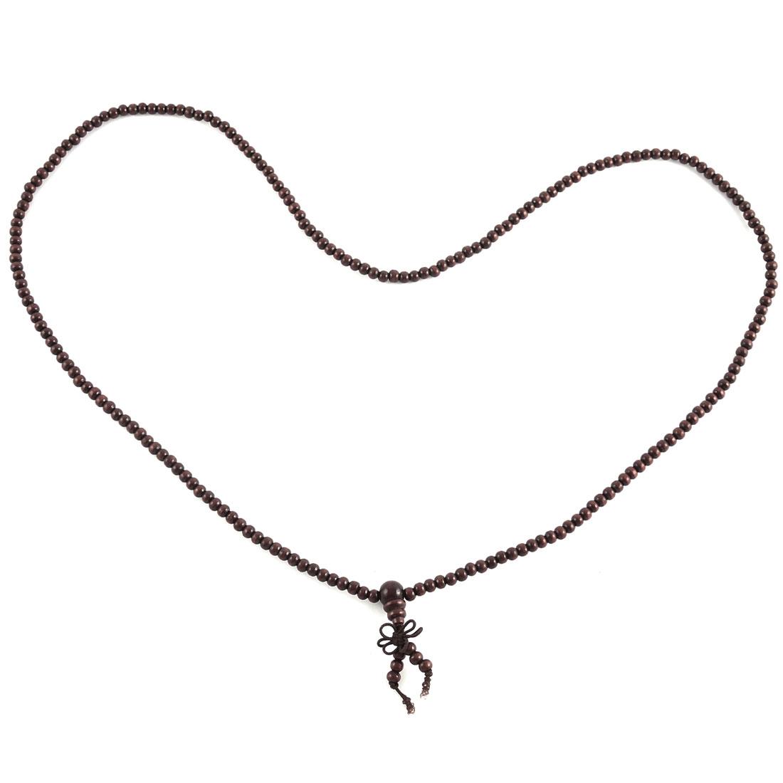 Wood Round Prayer Beads Stretch Strap Necklace Chain Bracelet Burgundy
