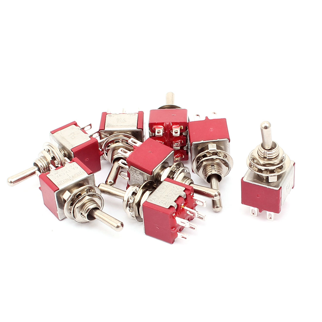 8 Pcs AC 250V 5A Toggle Switch DPDT ON-OFF-ON Switch Silver Tone