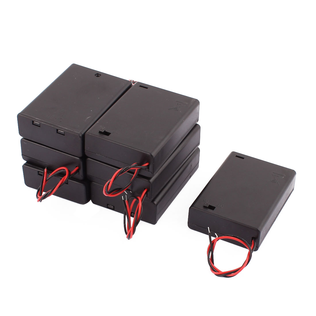 7 Pcs Battery Cell Case with Cover 3 x 1.5V AA Black Plastic Dual Wire