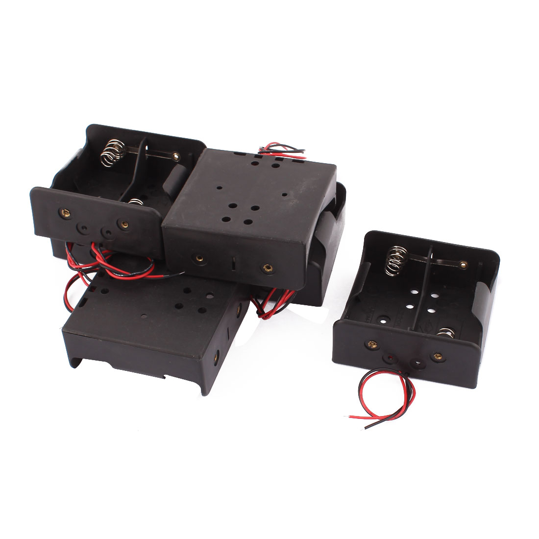 2 x 1.5V Type D 2 Pin Black Plastic Battery Cell Case Leads 6 Pcs