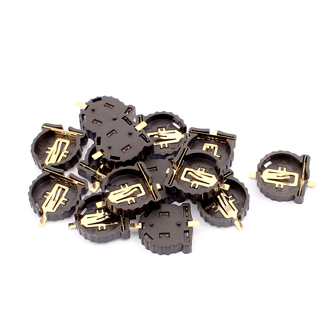 14 Pcs Brown Plastic CR1220 Cell Button Lithium Batteries Socket Holder