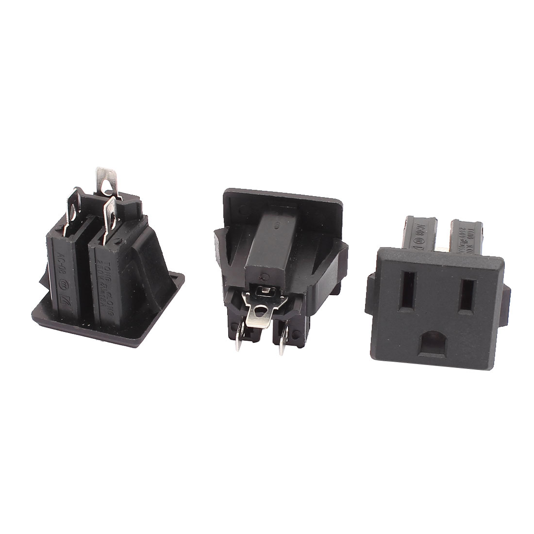 AC 15A 125V US Plug Panel Mount US Outlet Power Socket Black 3 Pcs