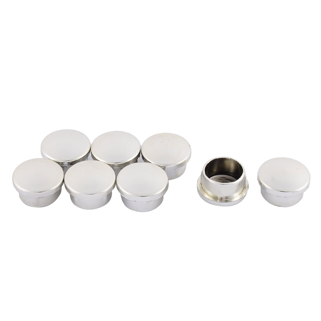 Home Plastic Round Flush Mount Cable Connector Hole Stoppers Covers Silver Tone 19mm 8pcs