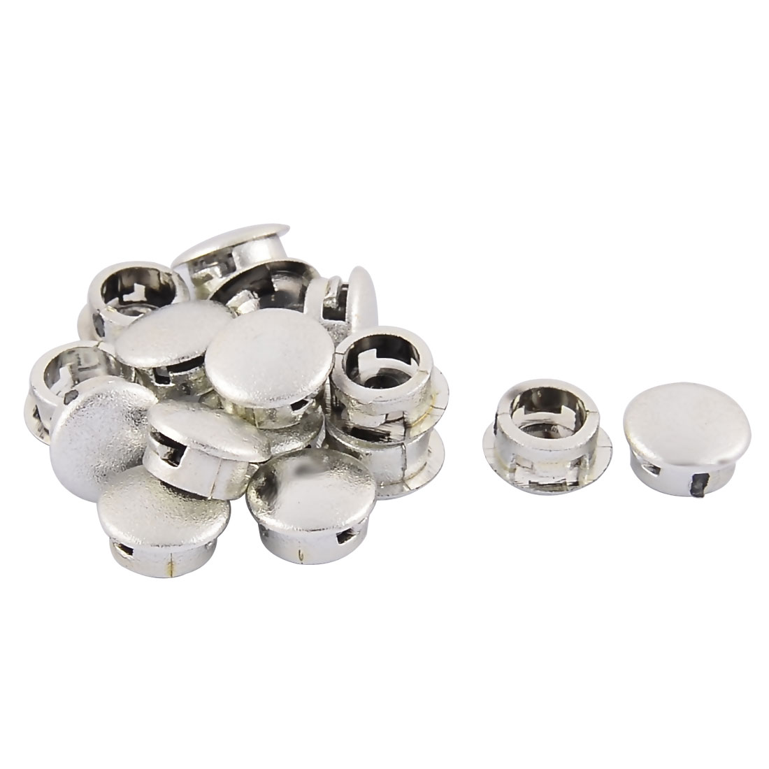 Home Plastic Round Flush Mount Cable Connector Hole Stopper Covers Silver Tone 8mm 16pcs