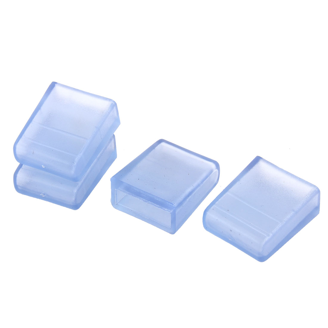 Home Household Transparent Square Water Pipe Fitting Tube End Cap Covers 10x30mm Inner Dia 4pcs