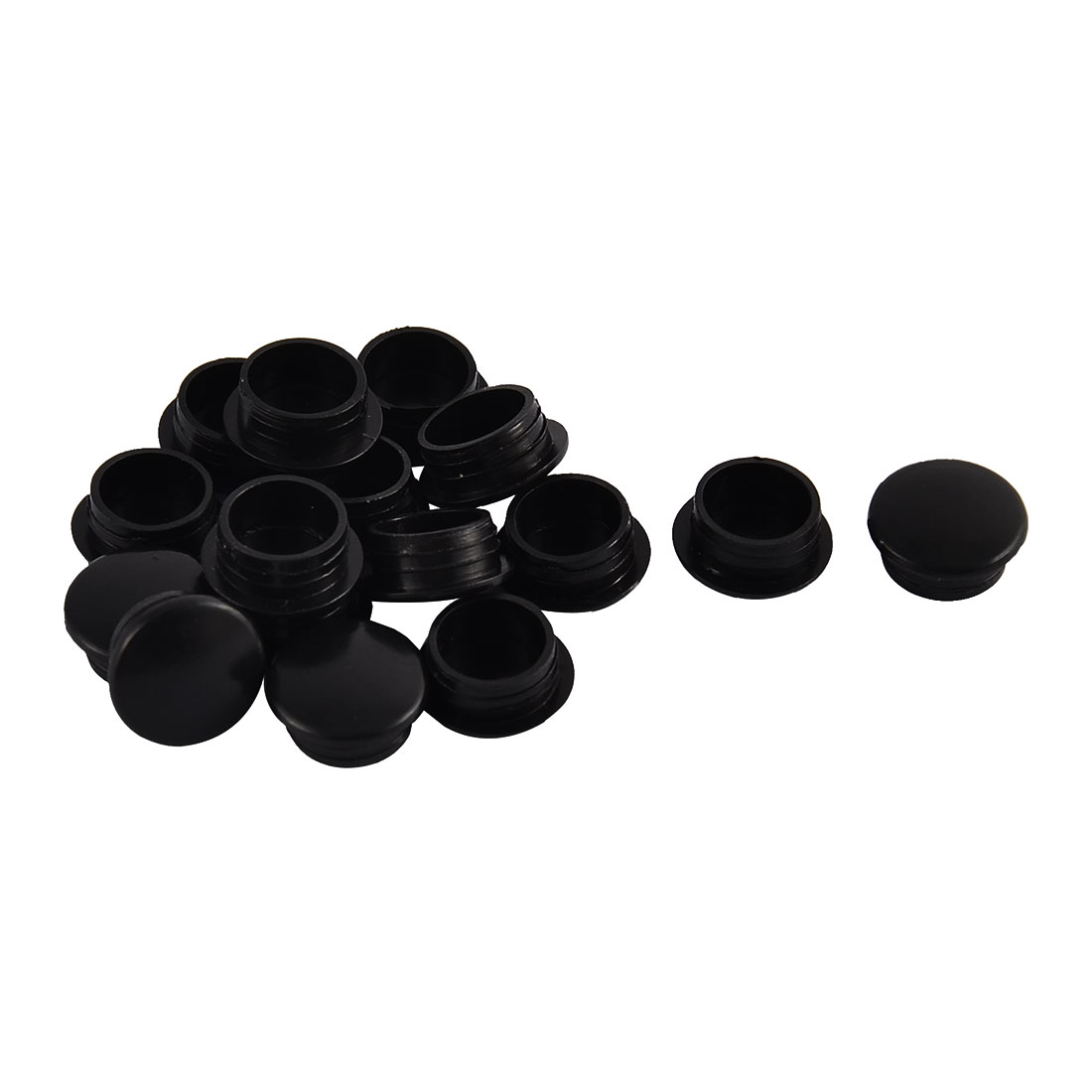 Home Plastic Round Flush Mount Cable Connector Hole Stoppers Covers Black 12mm 16pcs