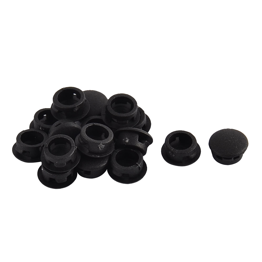 Home Plastic Round Flush Mount Cable Connector Hole Stoppers Covers Black 8mm 16pcs
