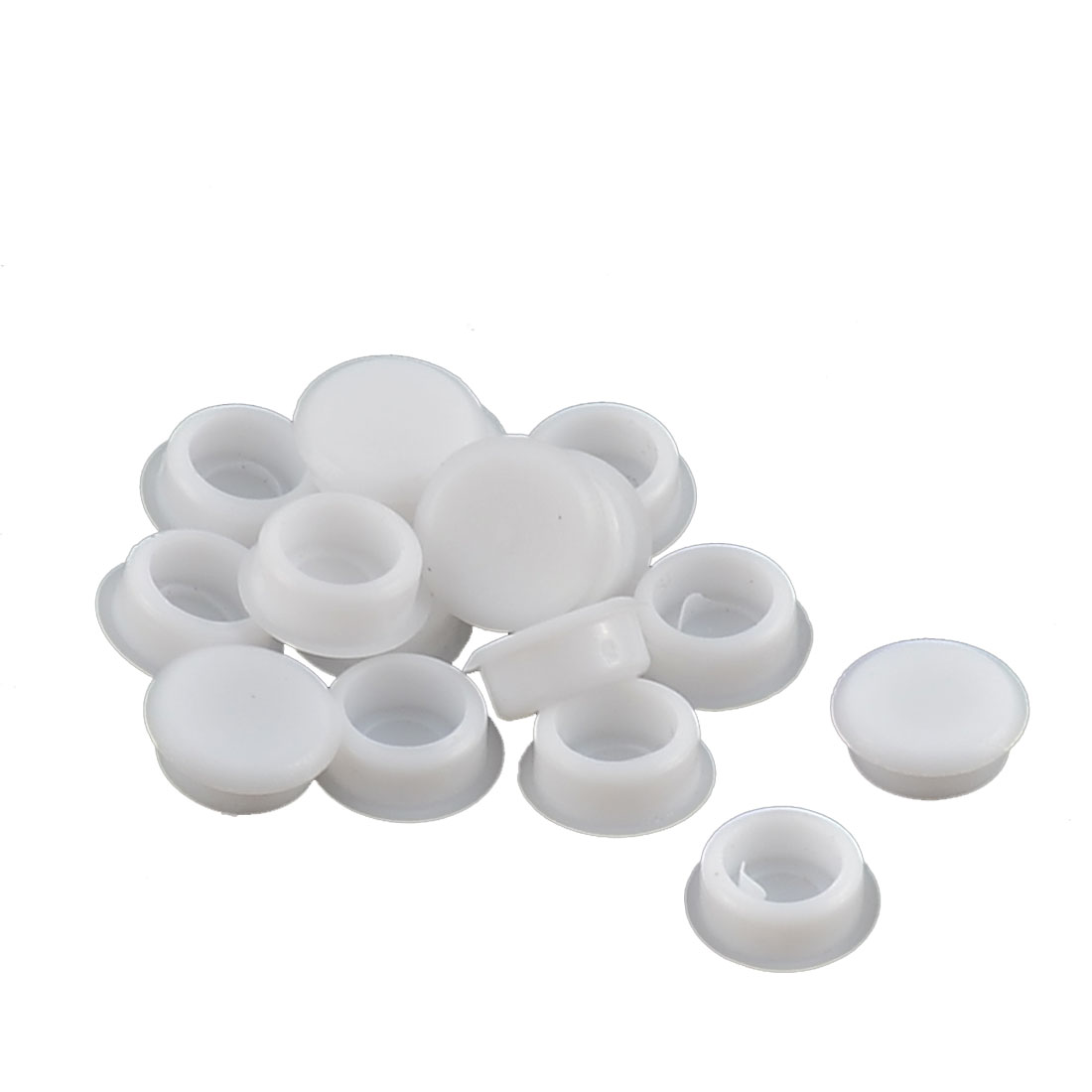 Home Plastic Round Flush Mount Cable Connector Hole Stoppers Covers White 8mm 16pcs