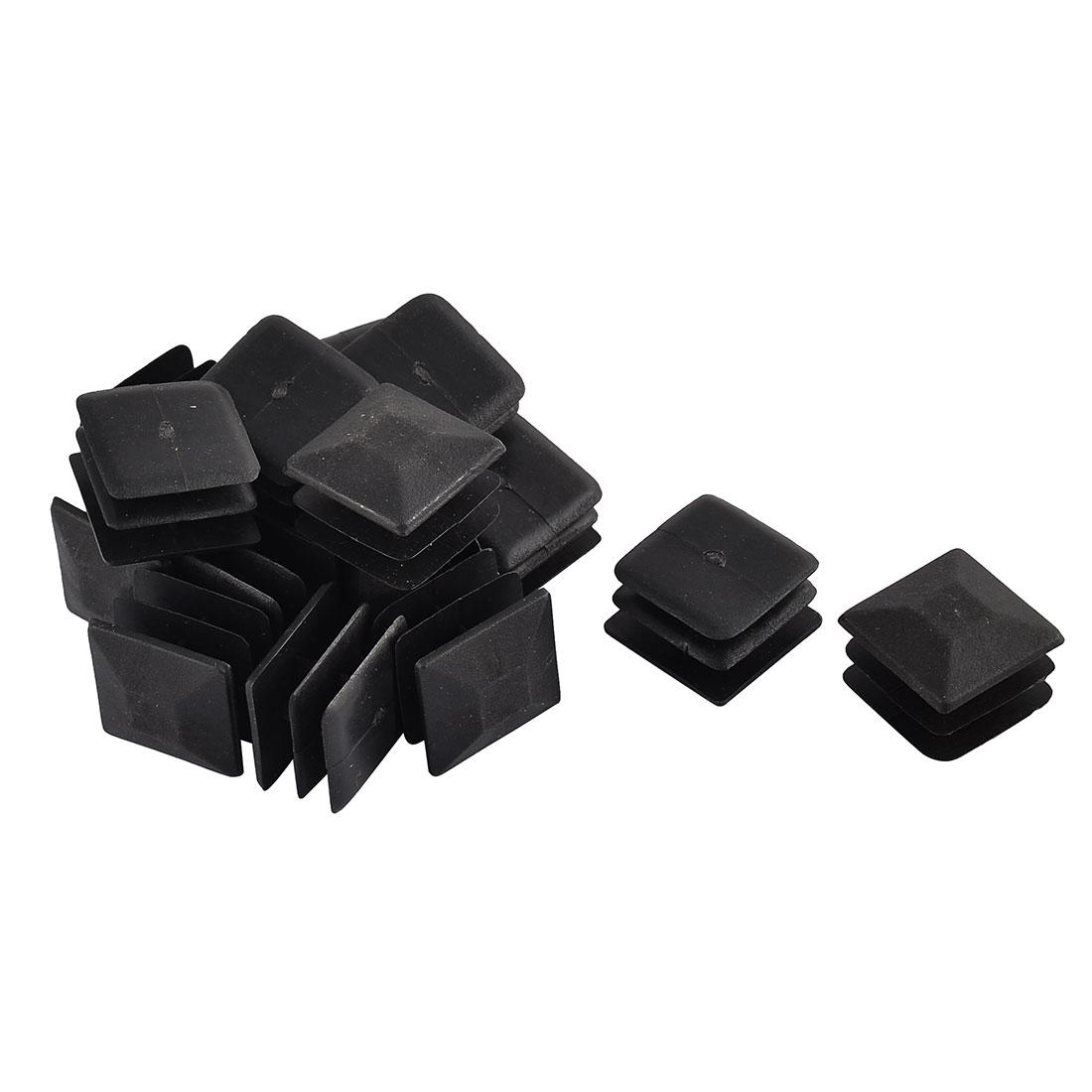 Home Desk Chair Plastic Square Blanking End Cap Tube Insert Black 20x20mm 16pcs