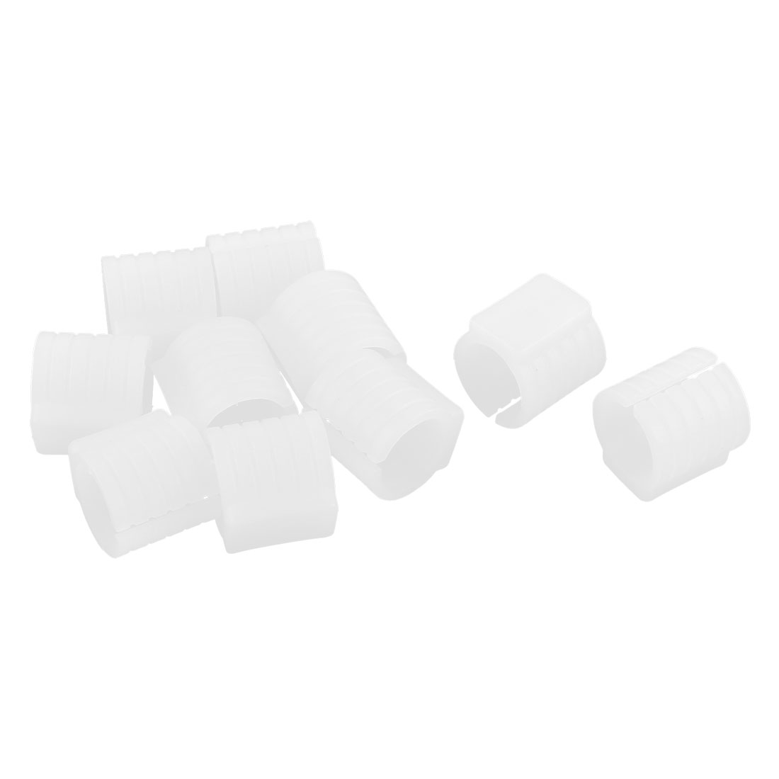 Office Chair Pipe Foot Clamp Pads Floor Glide U-shaped Caps White 13mm Dia 10pcs