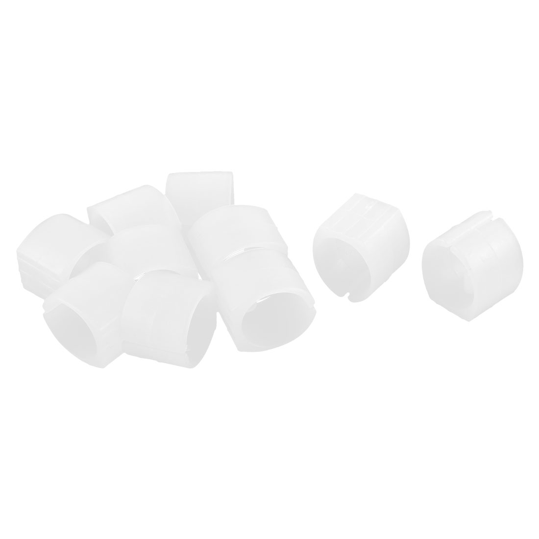 Home Chair Pipe Foot Clamp Pads Floor Glides U-shaped Caps White 20mm Dia 10pcs