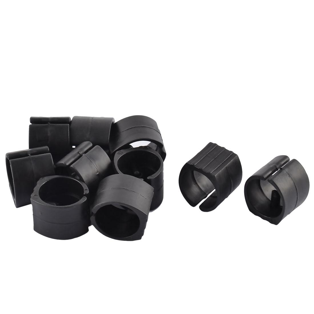 20mm Dia Non-slip Chair Pipe Foot Clamp Pads Floor Glides U-Shaped Caps Black 10pcs