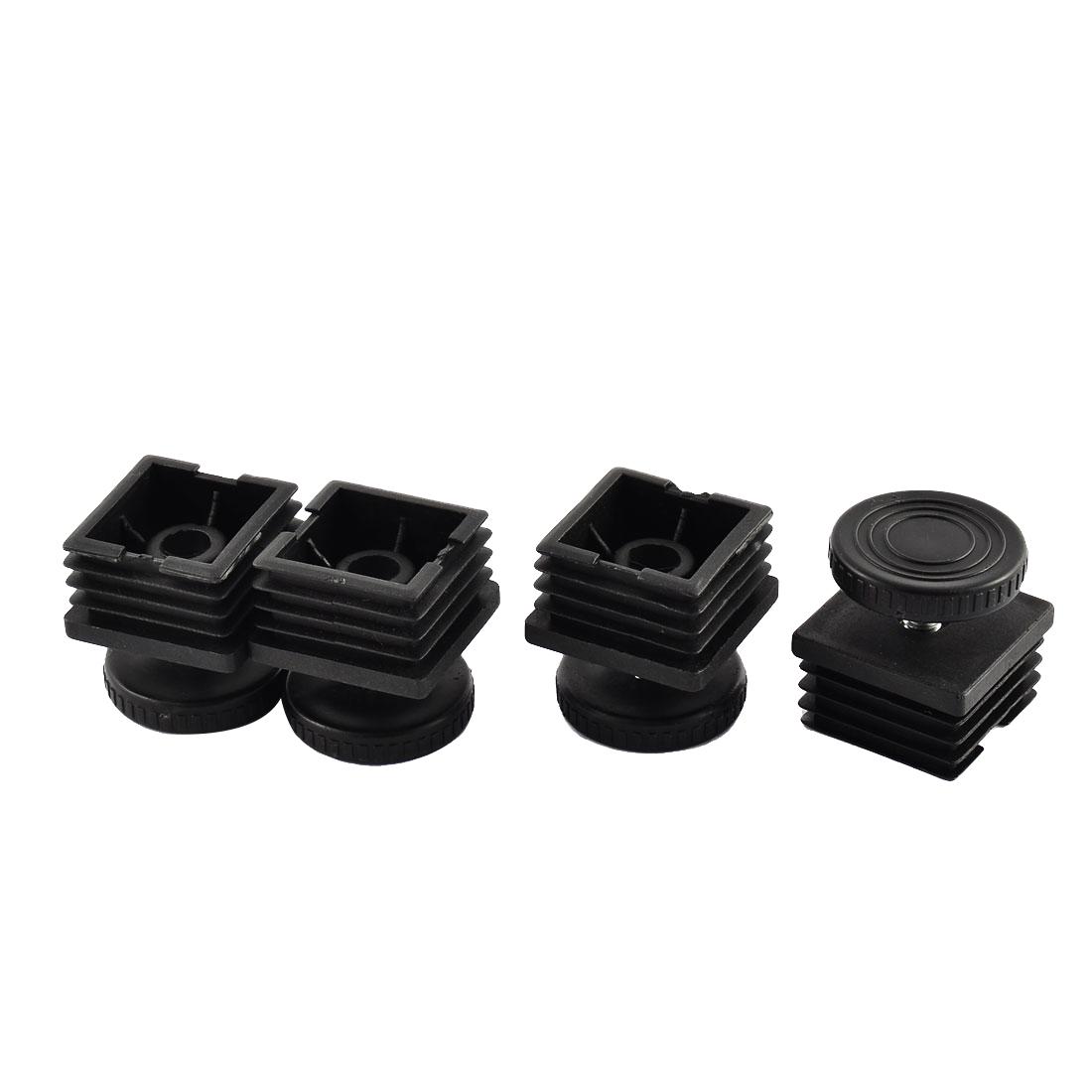 4 Sets Furniture Leg Adjustable Leveling Foot 38mm x 38mm Square Tube Insert Kit