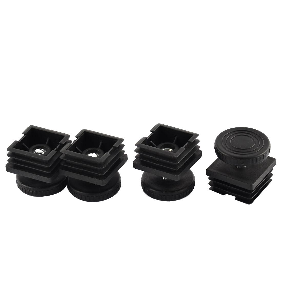 4 Sets 40mm Base Dia Adjustable Leveling Foot 36mm x 36mm Square Tube Insert Kit