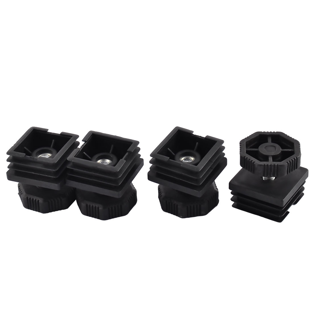 4 Sets 37mm Base Adjustable Leveling Foot 36mm x 36mm Square Tube Insert Cap Kit