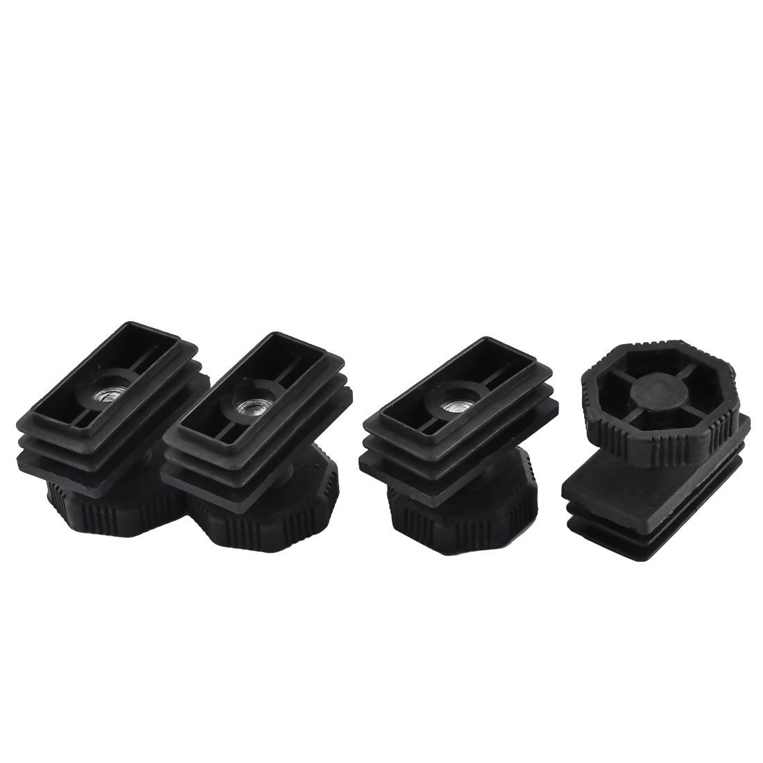 4 Sets Office Desk Adjustable Leveling Foot 49mm x 21mm Rectangle Shaped Tube Insert Kit