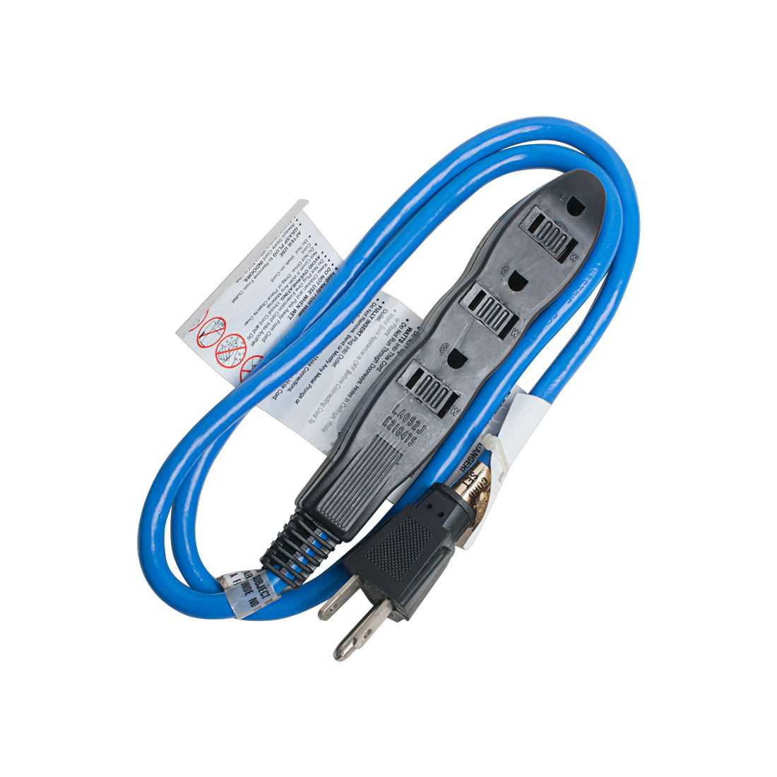 US Plug to 3 Outlets Extension Cord Cable 13A 16/3 SJTW 3Ft Blue Outdoor Indoor