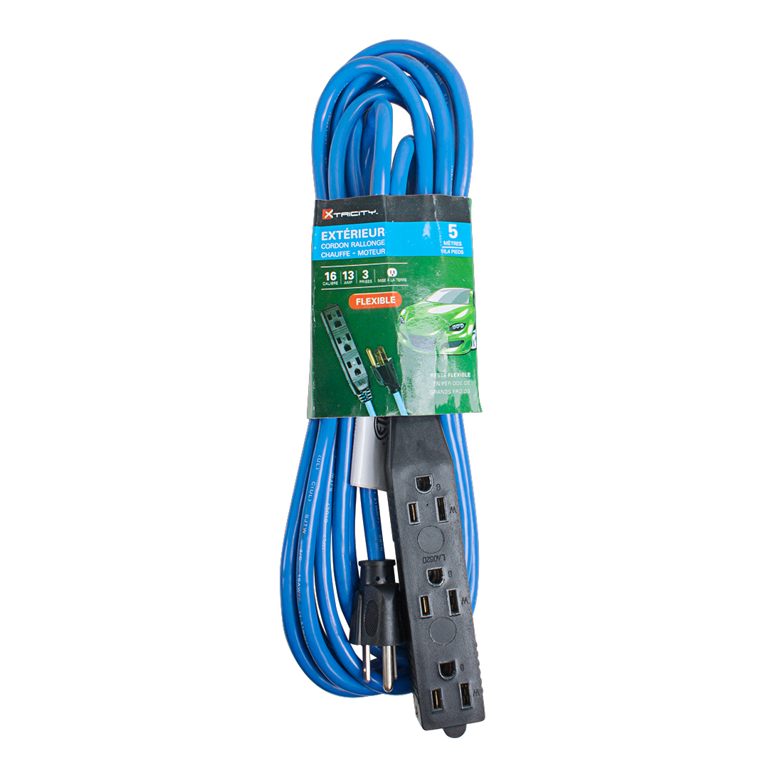 US Plug Outdoor Vinyl 13A 16AWG SJTW 16Ft Medium Duty Power Extension Cord Cable Blue