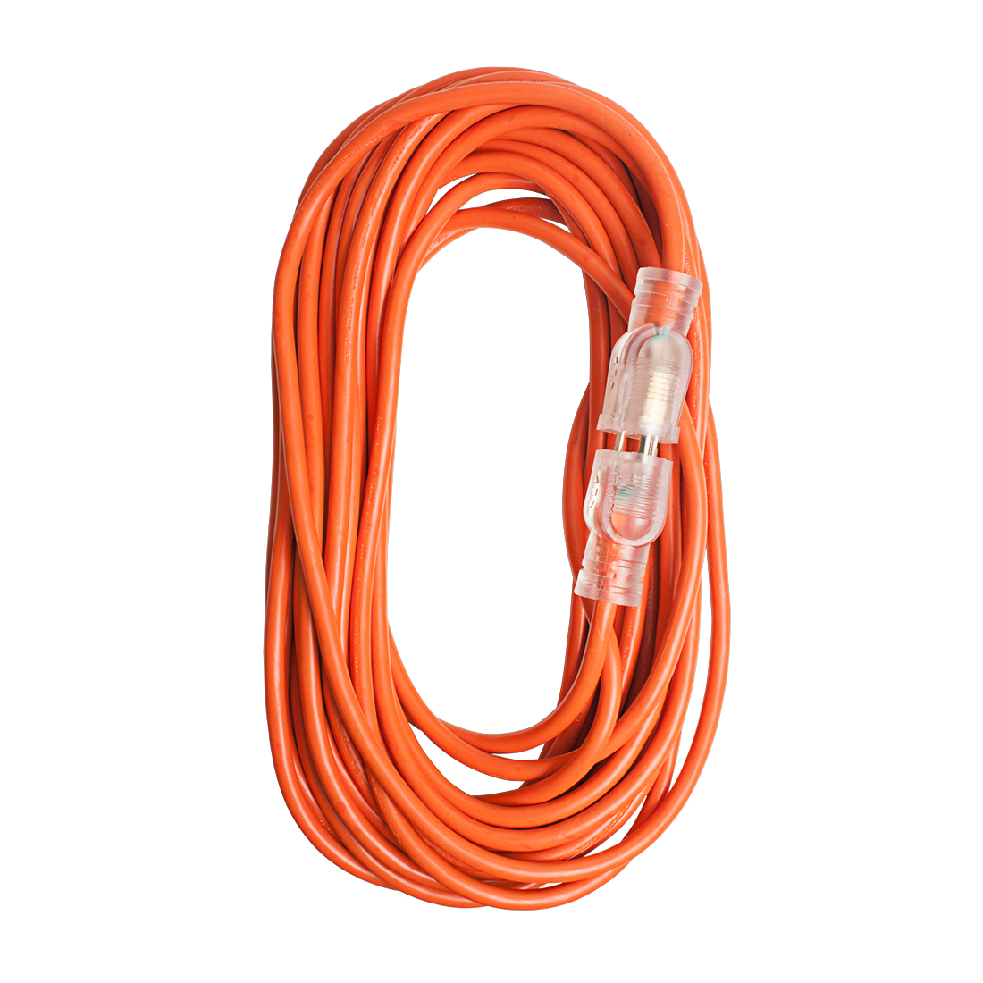Medium Duty Lighted US Power Extension Cord Cable 13A 16AWG SJTW 50Ft Orange