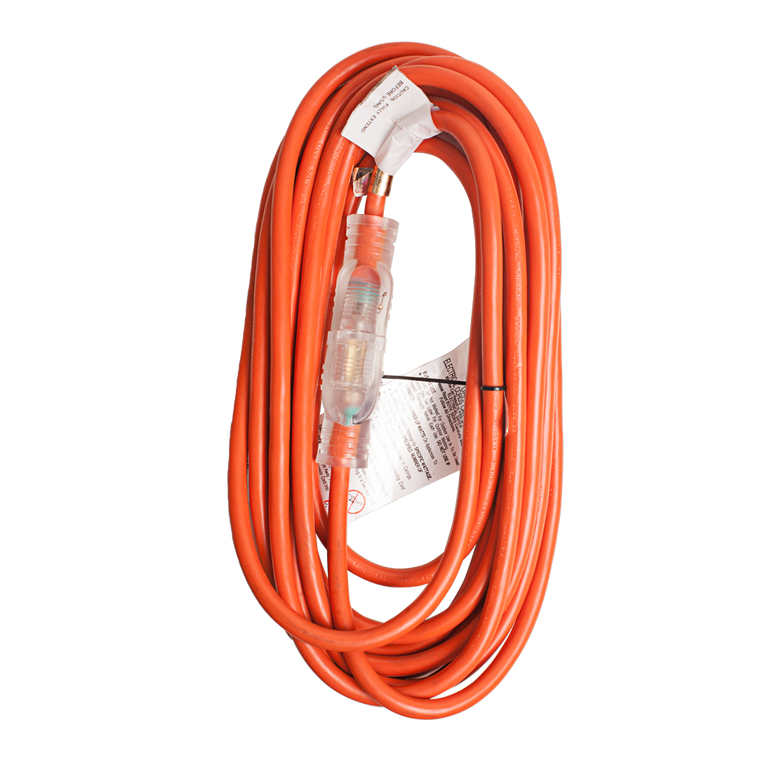 Outdoor Heavy-Duty Lighted US Power Extension Cord Cable 15A 14AWG SJTW 25Ft Orange