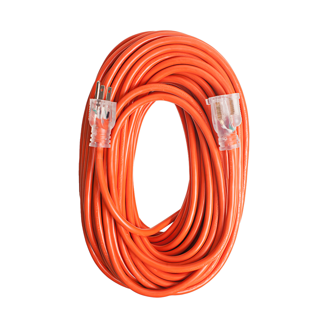 US Plug Outdoor Heavy-Duty 15A 14AWG SJTW 100Ft Lighted Power Extension Cord Cable Orange