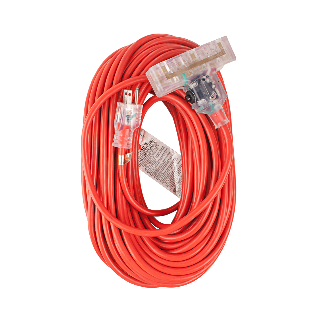 Outdoor Heavy-Duty Lighted Extension Cord 15A 14/3 SJTW 100Ft Overload Protection Red