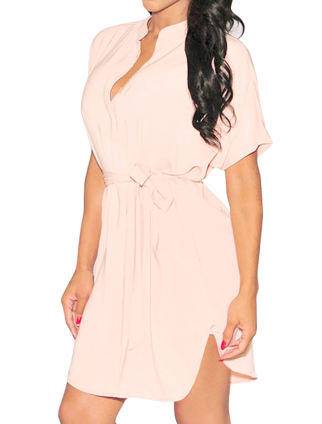 Women High Low Hem Deep V Neck Tunic Dress w Belt Pink M