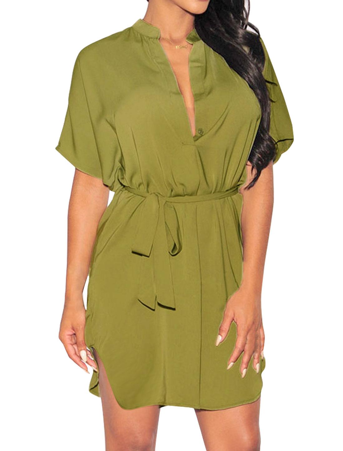 Women High Low Hem Deep V Neck Tunic Dress w Belt Green M