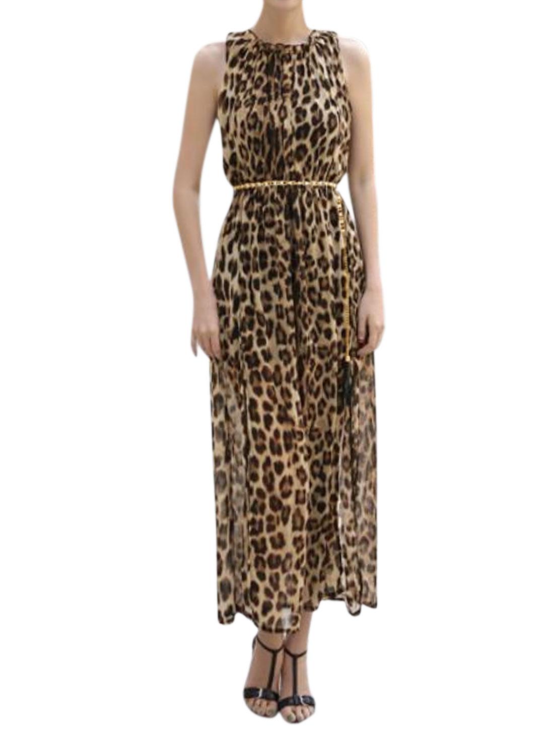 Women Leopard Prints Elastic Waist Chiffon Dress w Belt Brown S